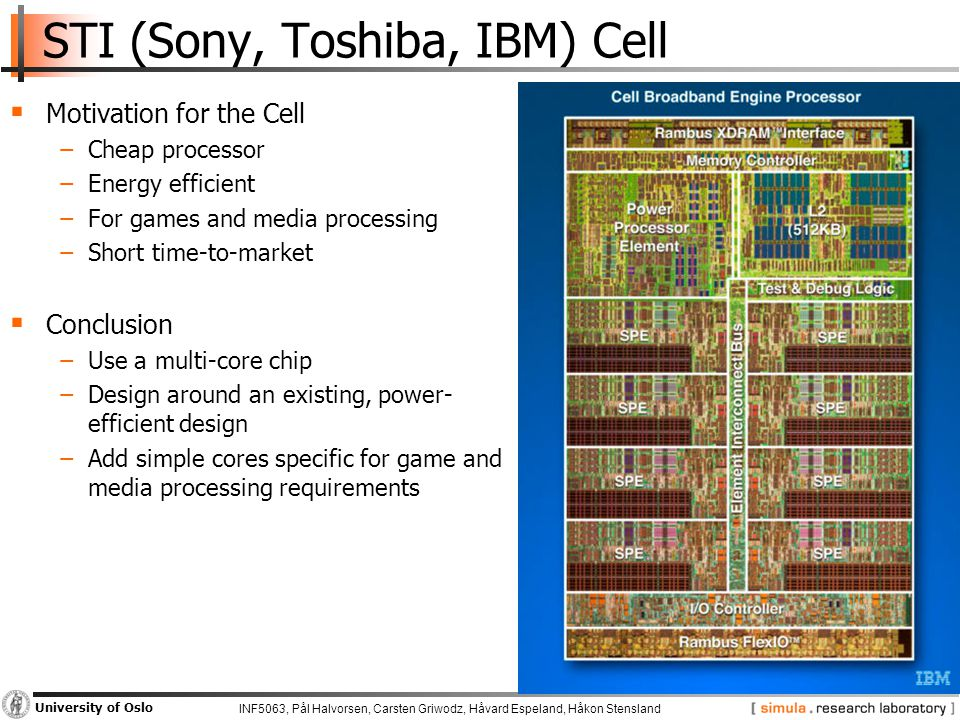 INF5063, Pål Halvorsen, Carsten Griwodz, Håvard Espeland, Håkon Stensland University of Oslo STI (Sony, Toshiba, IBM) Cell  Motivation for the Cell −Cheap processor −Energy efficient −For games and media processing −Short time-to-market  Conclusion −Use a multi-core chip −Design around an existing, power- efficient design −Add simple cores specific for game and media processing requirements