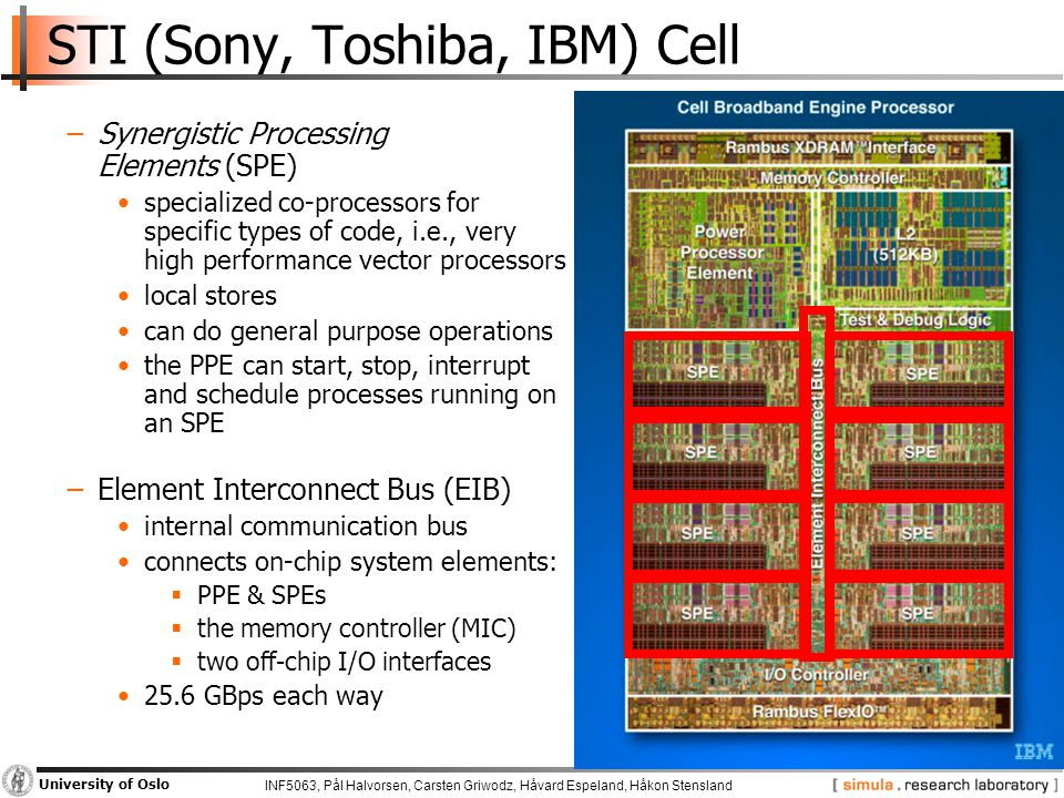 INF5063, Pål Halvorsen, Carsten Griwodz, Håvard Espeland, Håkon Stensland University of Oslo STI (Sony, Toshiba, IBM) Cell −Synergistic Processing Elements (SPE) specialized co-processors for specific types of code, i.e., very high performance vector processors local stores can do general purpose operations the PPE can start, stop, interrupt and schedule processes running on an SPE −Element Interconnect Bus (EIB) internal communication bus connects on-chip system elements:  PPE & SPEs  the memory controller (MIC)  two off-chip I/O interfaces 25.6 GBps each way