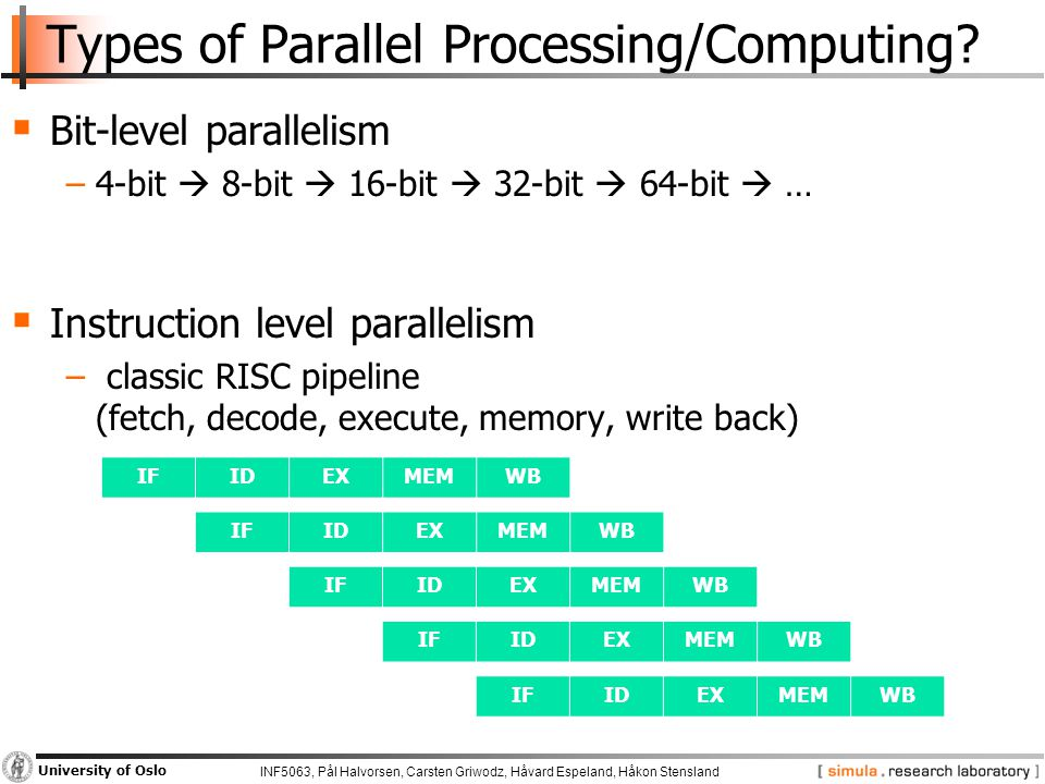 INF5063, Pål Halvorsen, Carsten Griwodz, Håvard Espeland, Håkon Stensland University of Oslo Types of Parallel Processing/Computing.