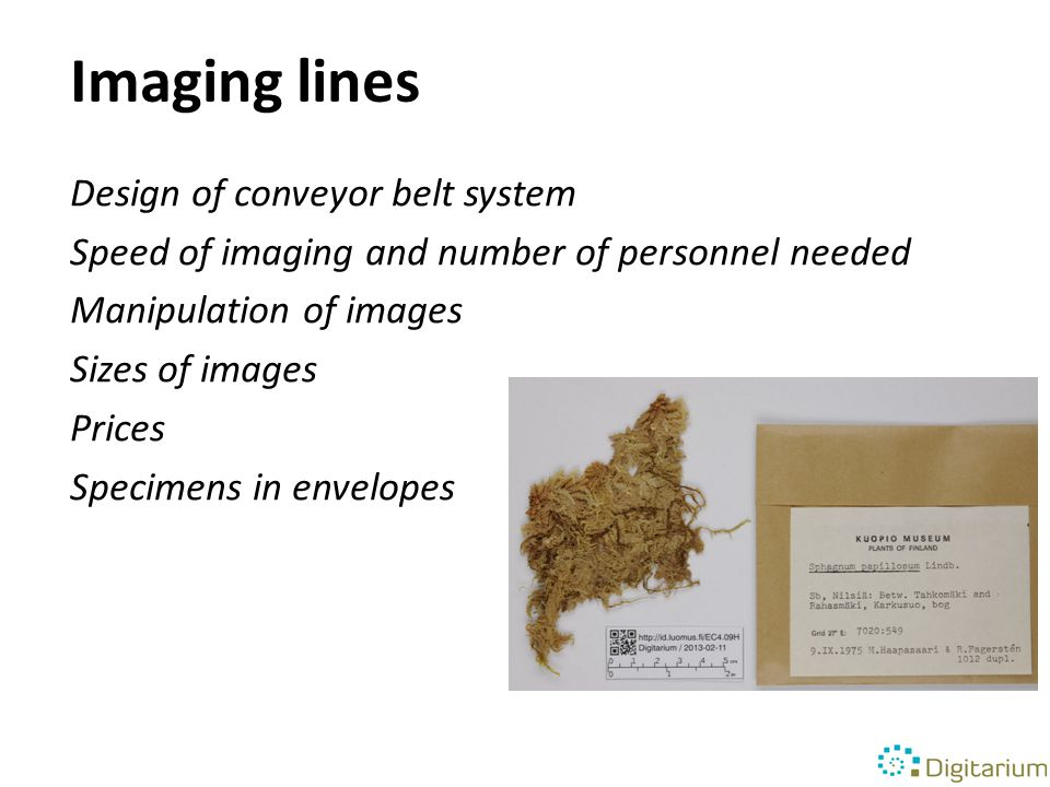 Imaging lines Design of conveyor belt system Speed of imaging and number of personnel needed Manipulation of images Sizes of images Prices Specimens in envelopes