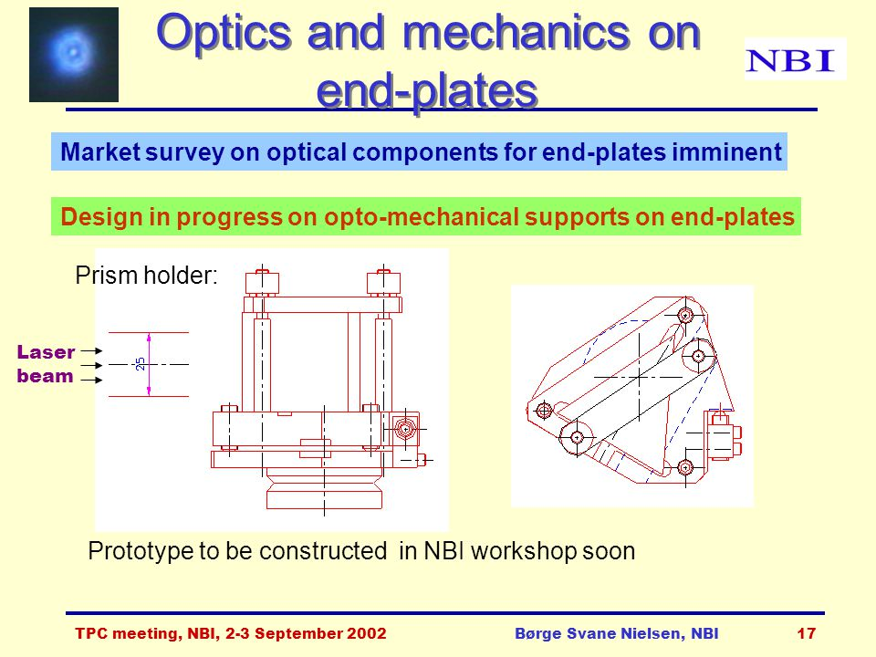 TPC meeting, NBI, 2-3 September 2002Børge Svane Nielsen, NBI17 Optics and mechanics on end-plates Design in progress on opto-mechanical supports on end-plates Prism holder: Prototype to be constructed in NBI workshop soon Laser beam Market survey on optical components for end-plates imminent