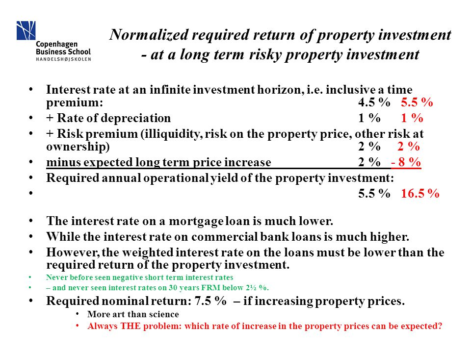 Normalized required return of property investment - at a long term risky property investment Interest rate at an infinite investment horizon, i.e.