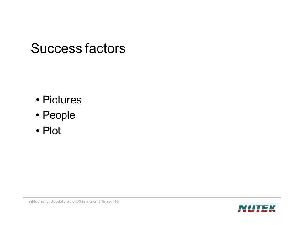 Bildserie: 3. Uppdaterad 040322, utskrift 15 apr -15 Success factors Pictures People Plot