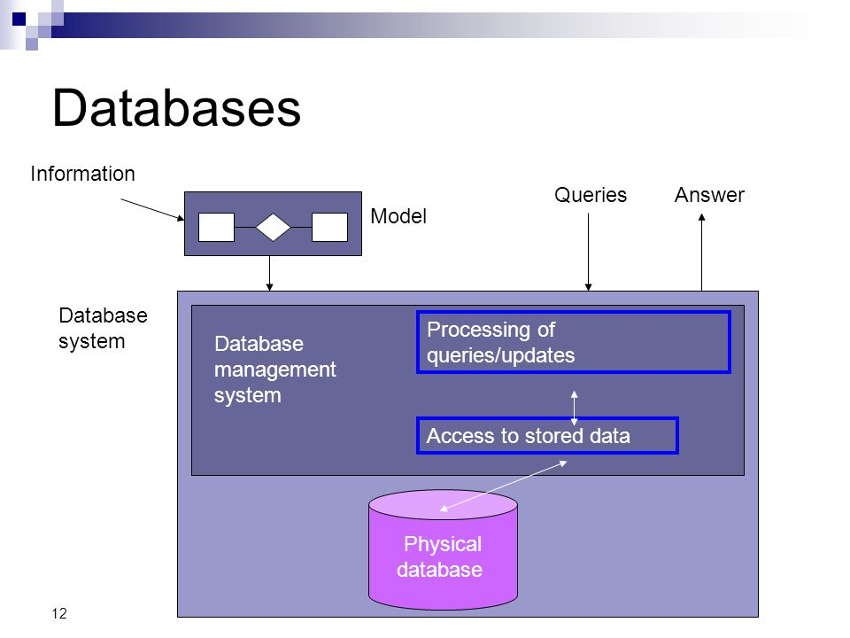 12 Databases Information Model QueriesAnswer Database system Physical database Database management system Processing of queries/updates Access to stor