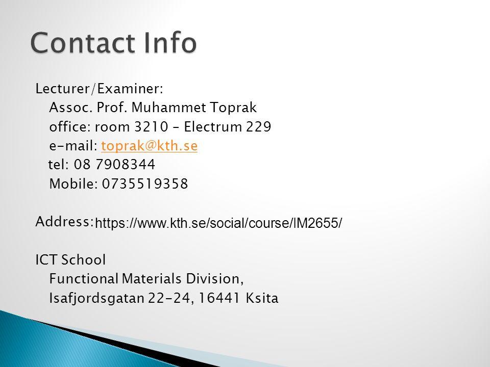 Lecturer/Examiner: Assoc. Prof.