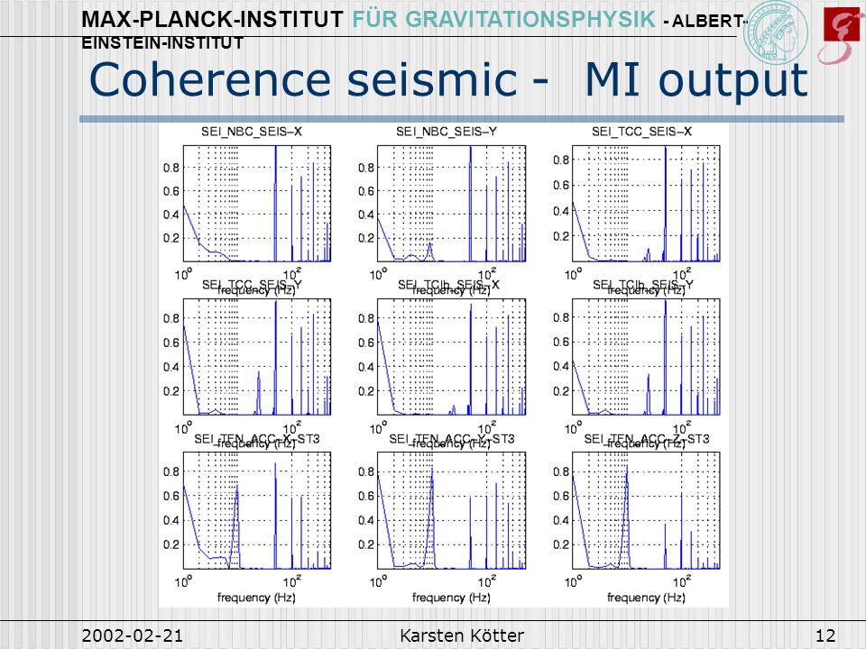 MAX-PLANCK-INSTITUT FÜR GRAVITATIONSPHYSIK - ALBERT- EINSTEIN-INSTITUT 2002-02-21Karsten Kötter12 Coherence seismic - MI output