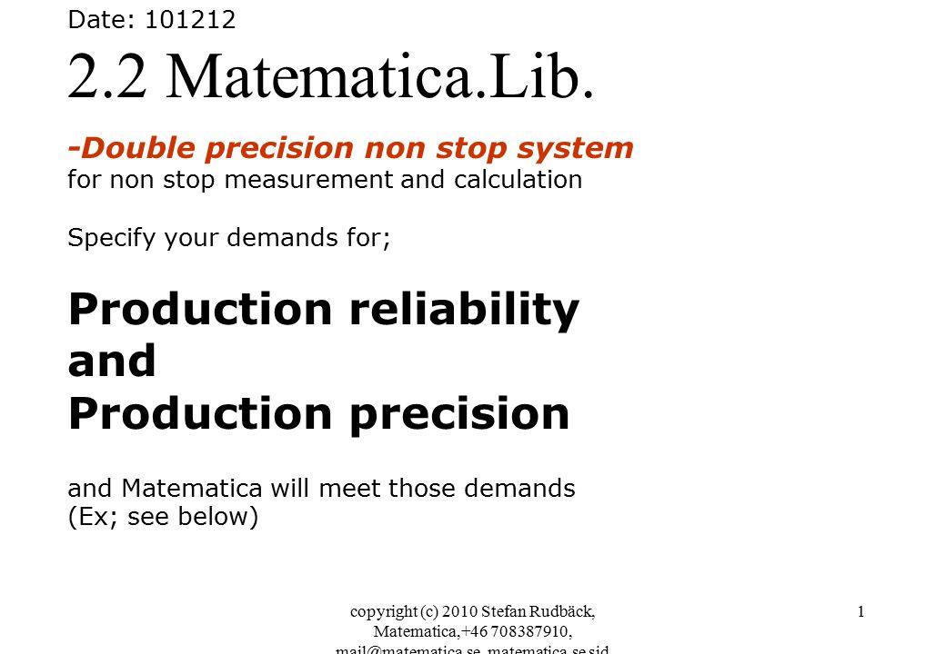copyright (c) 2010 Stefan Rudbäck, Matematica,+46 708387910, mail@matematica.se, matematica.se sid 1 Date: 101212 2.2 Matematica.Lib.