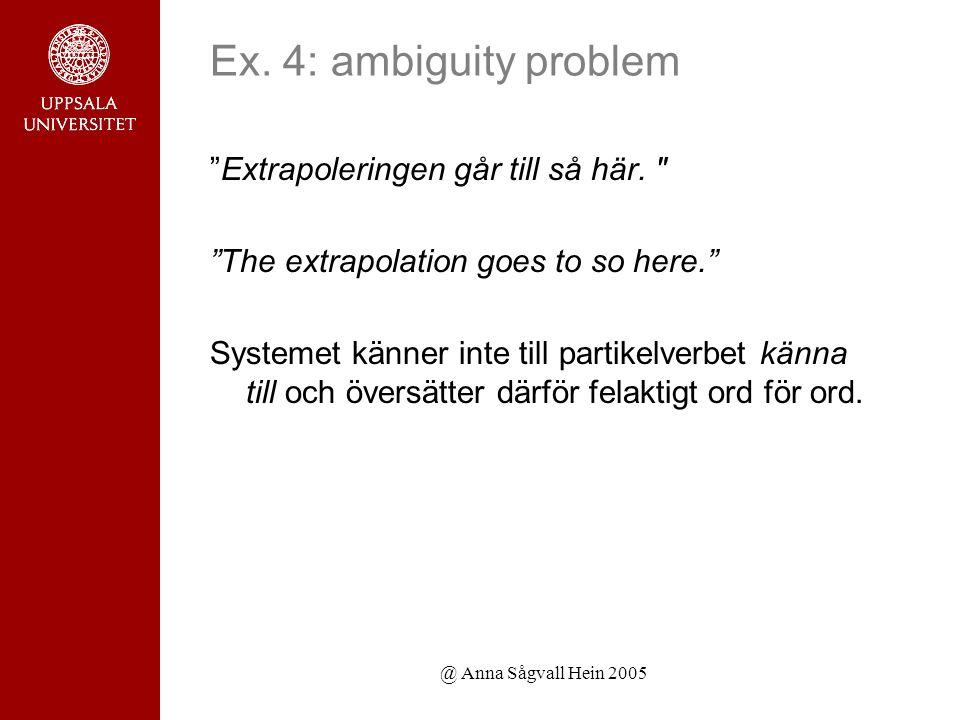 @ Anna Sågvall Hein 2005 Ex. 4: ambiguity problem Extrapoleringen går till så här.