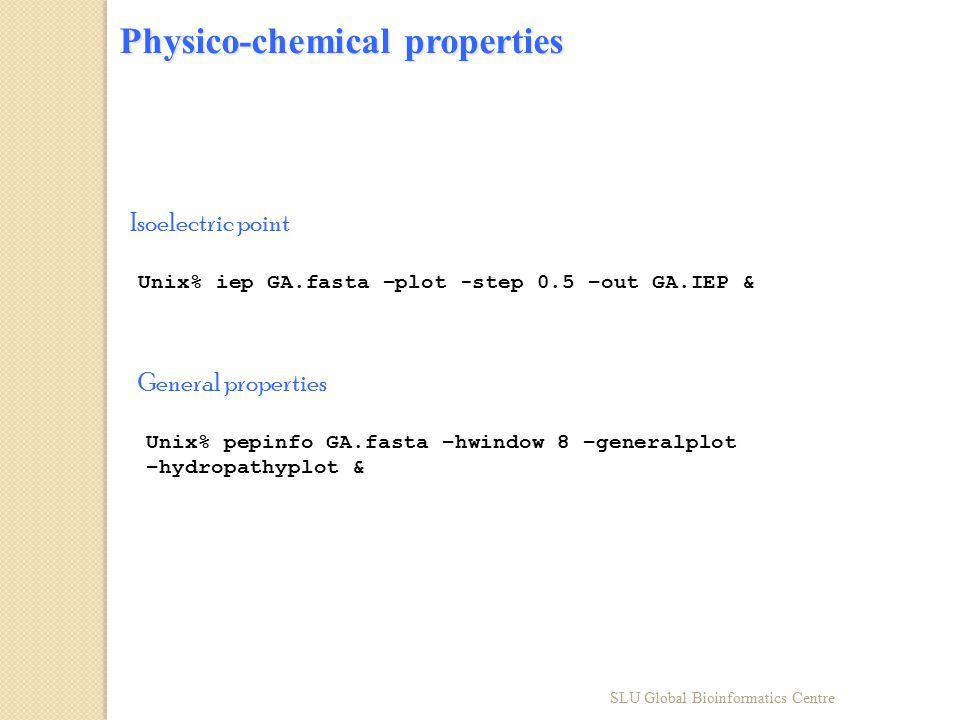 Physico-chemical properties Unix% iep GA.fasta –plot -step 0.5 –out GA.IEP & Unix% pepinfo GA.fasta –hwindow 8 –generalplot –hydropathyplot & Isoelect