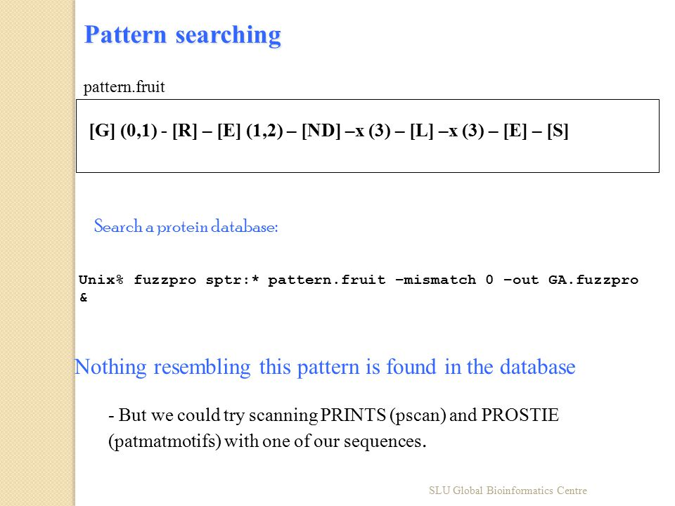 Pattern searching Unix% fuzzpro sptr:* pattern.fruit –mismatch 0 –out GA.fuzzpro & Search a protein database: [G] (0,1) - [R] – [E] (1,2) – [ND] –x (3) – [L] –x (3) – [E] – [S] pattern.fruit Nothing resembling this pattern is found in the database - But we could try scanning PRINTS (pscan) and PROSTIE (patmatmotifs) with one of our sequences.