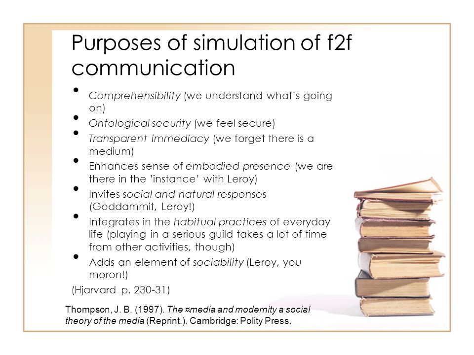 Purposes of simulation of f2f communication Comprehensibility (we understand what's going on) Ontological security (we feel secure) Transparent immedi