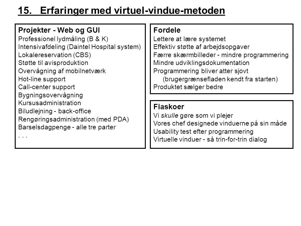 15. Erfaringer med virtuel-vindue-metoden Projekter - Web og GUI Professionel lydmåling (B & K) Intensivafdeling (Daintel Hospital system) Lokalereser
