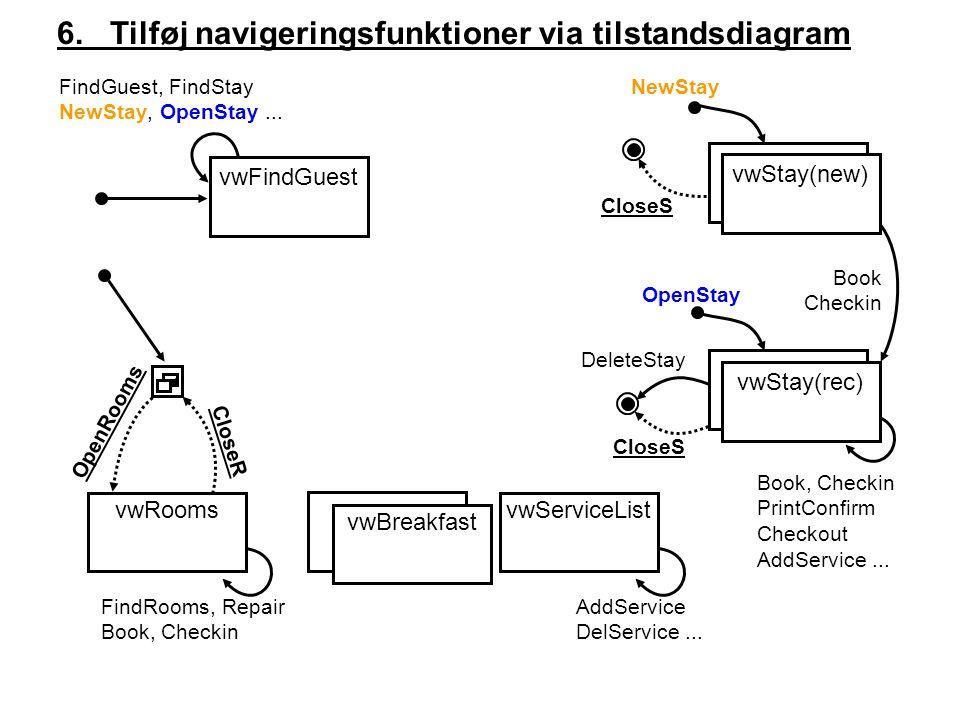 vwServiceList 6. Tilføj navigeringsfunktioner via tilstandsdiagram FindGuest, FindStay NewStay, OpenStay... NewStay OpenStay Book, Checkin PrintConfir