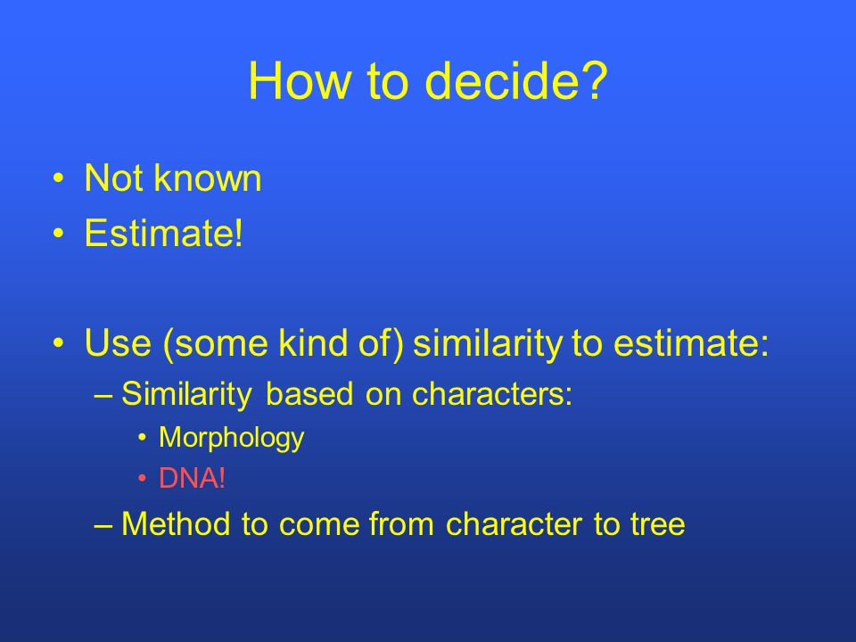 How to decide. Not known Estimate.