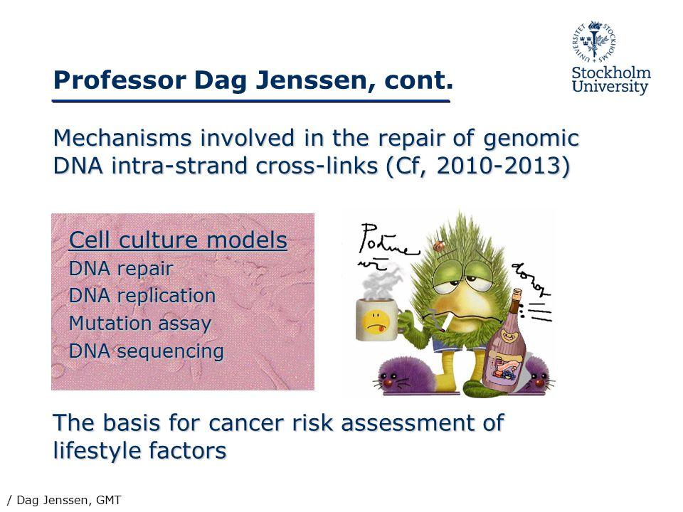 Professor Dag Jenssen, cont. Mechanisms involved in the repair of genomic DNA intra-strand cross-links (Cf, 2010-2013) The basis for cancer risk asses