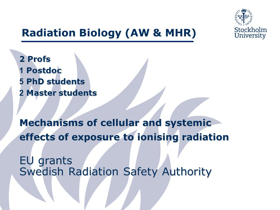 Radiation Biology (AW & MHR) Mechanisms of individual sensitivity to ionising radiation: Differences in DNA-damage response pathways between cohorts of patients with normal or severe healthy tissue reactions to tumour therapy.
