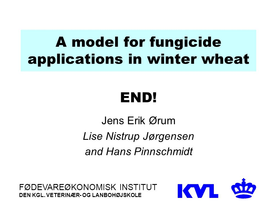 A model for fungicide applications in winter wheat END.