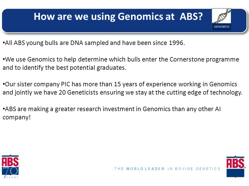 T H E W O R L D L E A D E R I N B O V I N E G E N E T I C S Cow Fertility ABV and Semen Fertility Ranking Information Day How are we using Genomics at ABS.