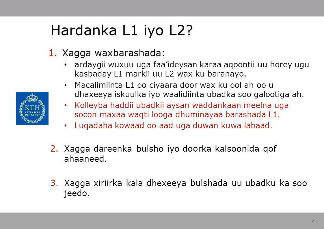 7 Hardanka L1 iyo L2.