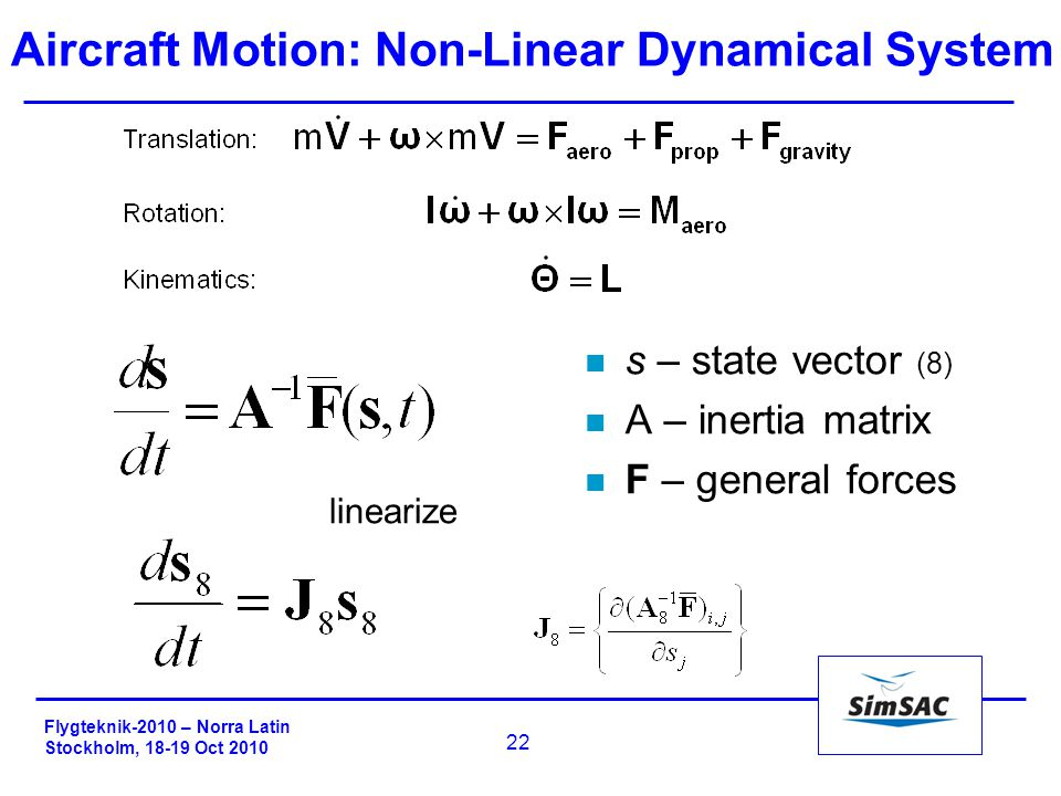 Flygteknik-2010 – Norra Latin Stockholm, 18-19 Oct 2010 22 Aircraft Motion: Non-Linear Dynamical System n s – state vector (8) n A – inertia matrix n F – general forces linearize
