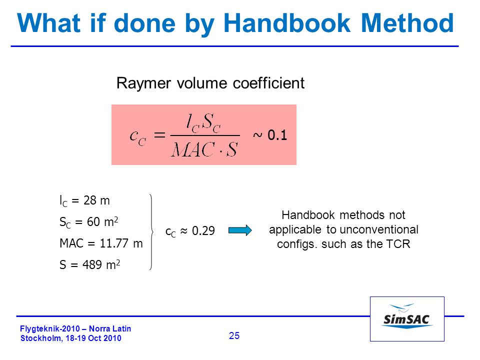 Flygteknik-2010 – Norra Latin Stockholm, 18-19 Oct 2010 25 What if done by Handbook Method Raymer volume coefficient Handbook methods not applicable to unconventional configs.