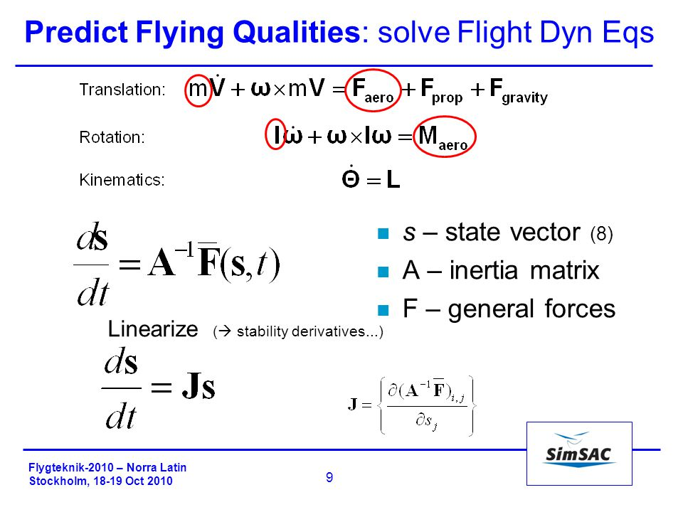 Flygteknik-2010 – Norra Latin Stockholm, 18-19 Oct 2010 9 Predict Flying Qualities: solve Flight Dyn Eqs n s – state vector (8) n A – inertia matrix n F – general forces Linearize (  stability derivatives...)