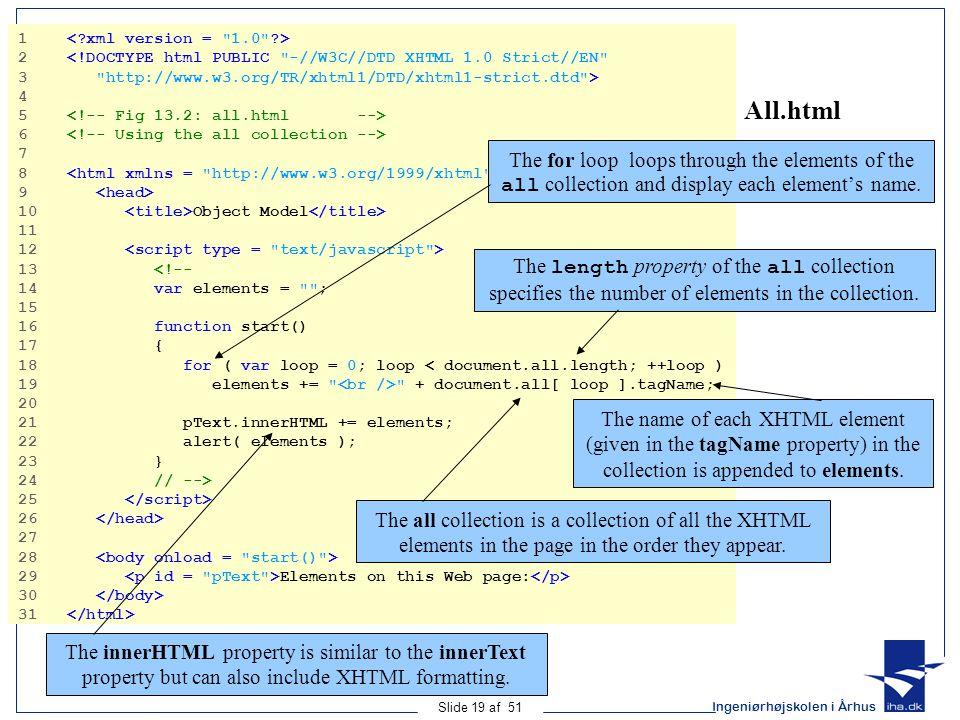 Ingeniørhøjskolen i Århus Slide 19 af 51 All.html 1 2 <!DOCTYPE html PUBLIC -//W3C//DTD XHTML 1.0 Strict//EN 3 http://www.w3.org/TR/xhtml1/DTD/xhtml1-strict.dtd > 4 5 6 7 8 9 10 Object Model 11 12 13 <!-- 14 var elements = ; 15 16 function start() 17 { 18 for ( var loop = 0; loop < document.all.length; ++loop ) 19 elements += + document.all[ loop ].tagName; 20 21 pText.innerHTML += elements; 22 alert( elements ); 23 } 24 // --> 25 26 27 28 29 Elements on this Web page: 30 31 The for loop loops through the elements of the all collection and display each element's name.