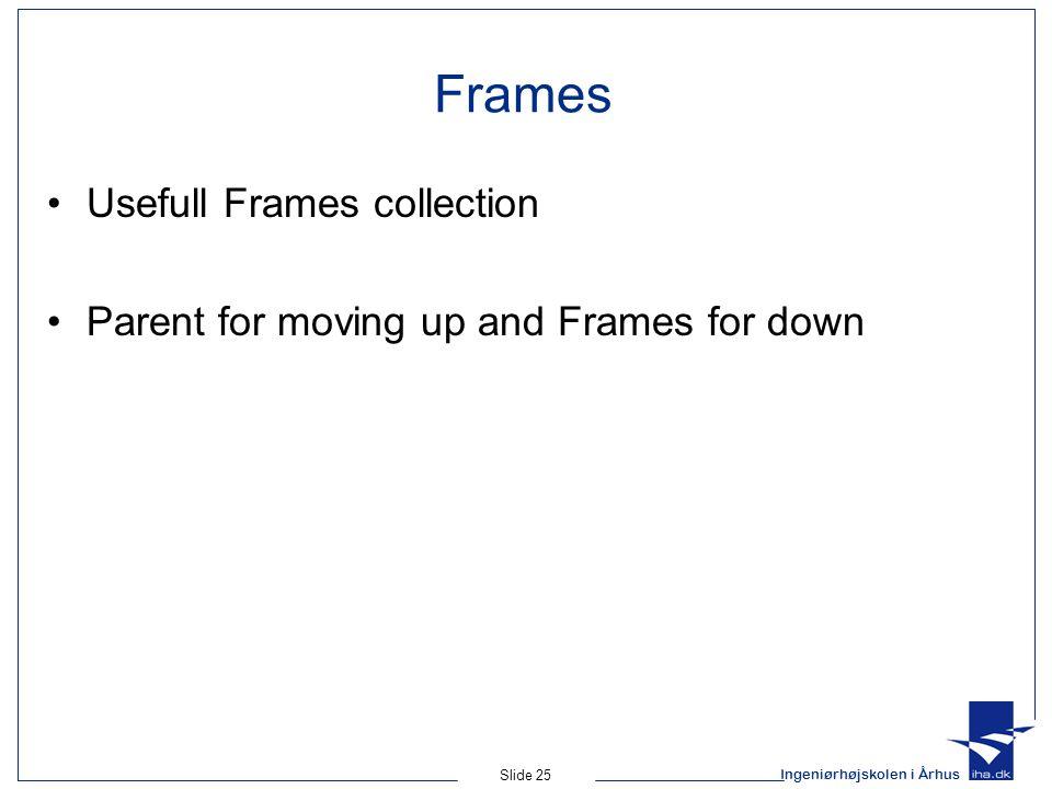 Ingeniørhøjskolen i Århus Slide 25 Frames Usefull Frames collection Parent for moving up and Frames for down