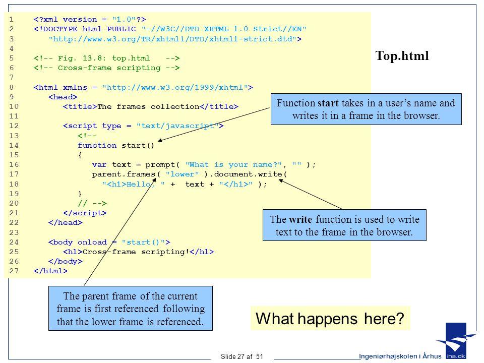 Ingeniørhøjskolen i Århus Slide 27 af 51 Top.html 1 2 <!DOCTYPE html PUBLIC -//W3C//DTD XHTML 1.0 Strict//EN 3 http://www.w3.org/TR/xhtml1/DTD/xhtml1-strict.dtd > 4 5 6 7 8 9 10 The frames collection 11 12 13 <!-- 14 function start() 15 { 16 var text = prompt( What is your name? , ); 17 parent.frames( lower ).document.write( 18 Hello, + text + ); 19 } 20 // --> 21 22 23 24 25 Cross-frame scripting.