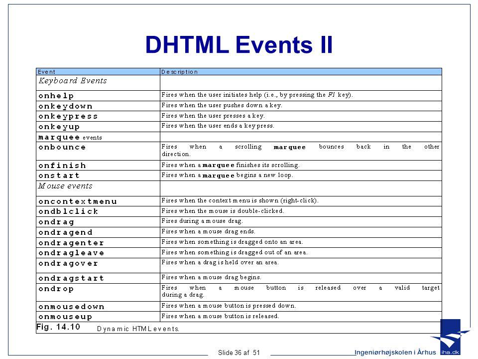 Ingeniørhøjskolen i Århus Slide 36 af 51 DHTML Events II
