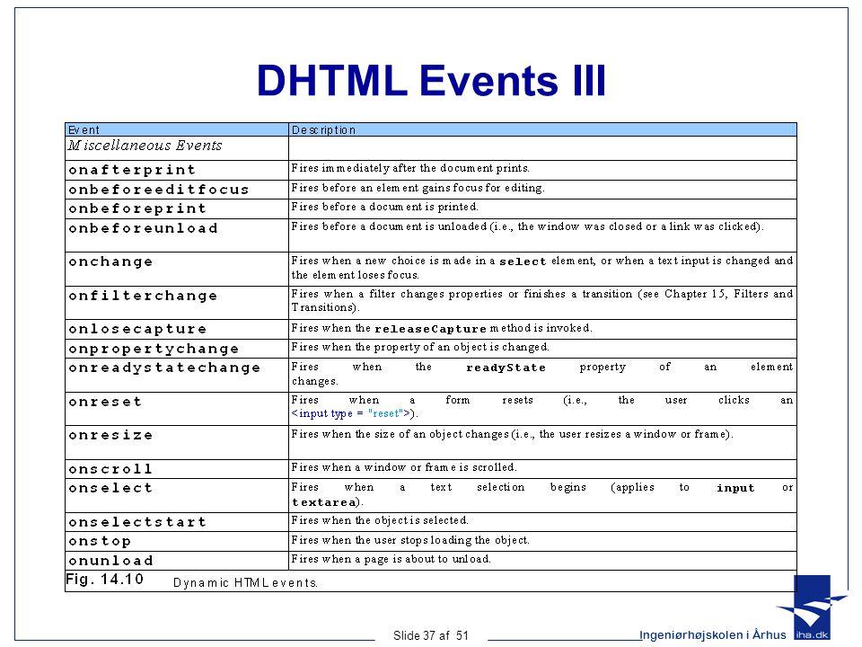 Ingeniørhøjskolen i Århus Slide 37 af 51 DHTML Events III