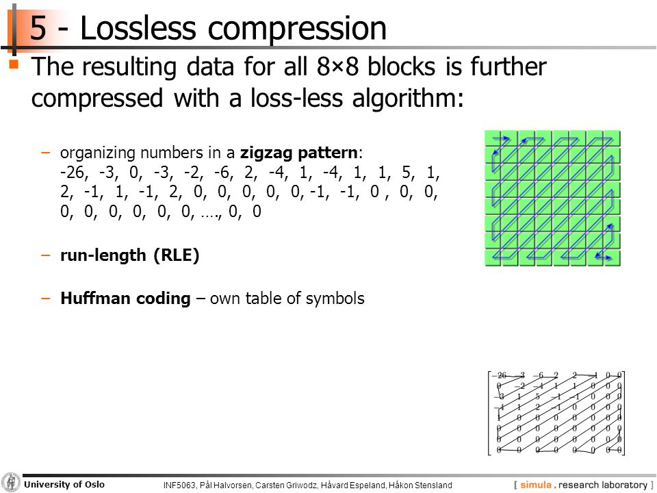 INF5063, Pål Halvorsen, Carsten Griwodz, Håvard Espeland, Håkon Stensland University of Oslo 5 - Lossless compression  The resulting data for all 8×8