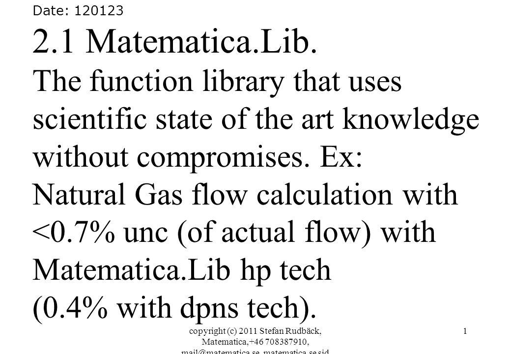 copyright (c) 2011 Stefan Rudbäck, Matematica,+46 708387910, mail@matematica.se, matematica.se sid 1 Date: 120123 2.1 Matematica.Lib.