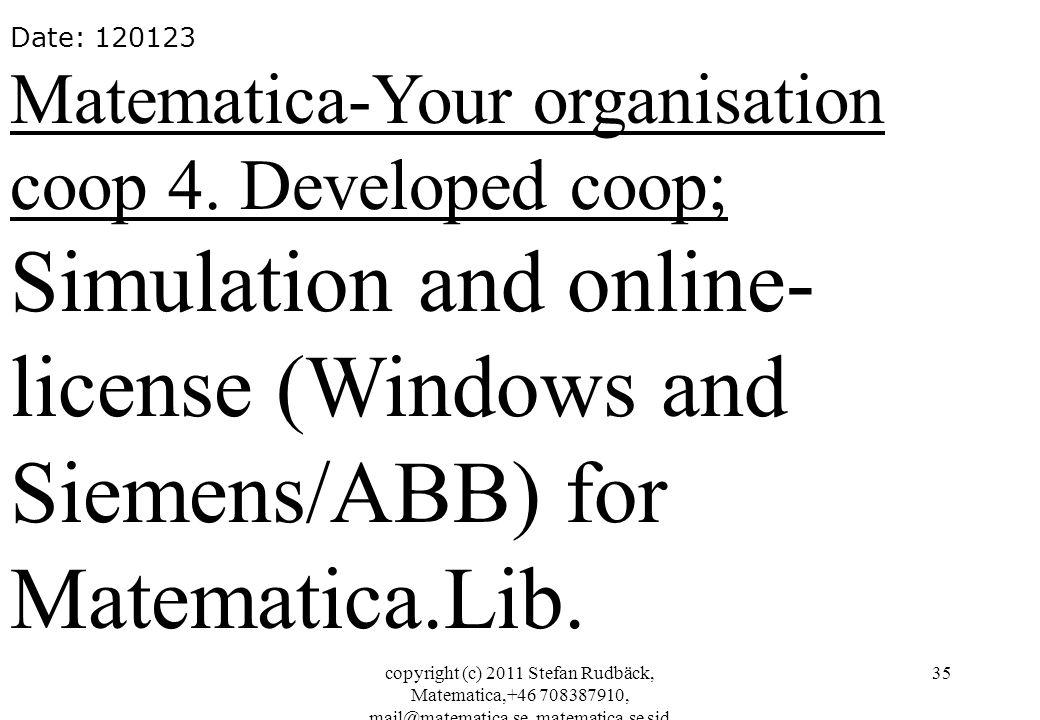 copyright (c) 2011 Stefan Rudbäck, Matematica,+46 708387910, mail@matematica.se, matematica.se sid 35 Date: 120123 Matematica-Your organisation coop 4.