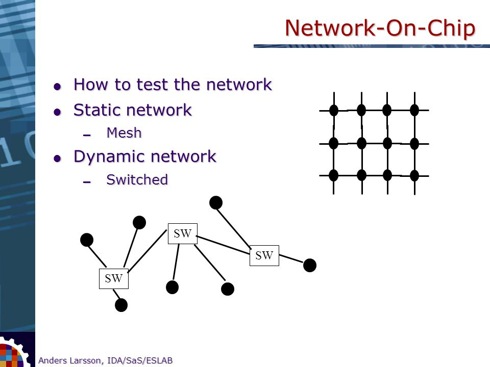 10 Anders Larsson, IDA/SaS/ESLAB Research on CORE-based SOC testing Network-On-Chip  How to test the network  Static network  Mesh  Dynamic networ