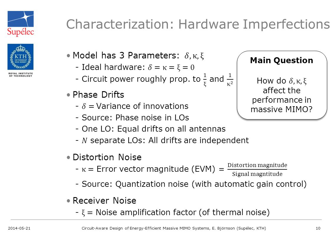 Characterization: Hardware Imperfections 2014-05-21Circuit-Aware Design of Energy-Efficient Massive MIMO Systems, E.