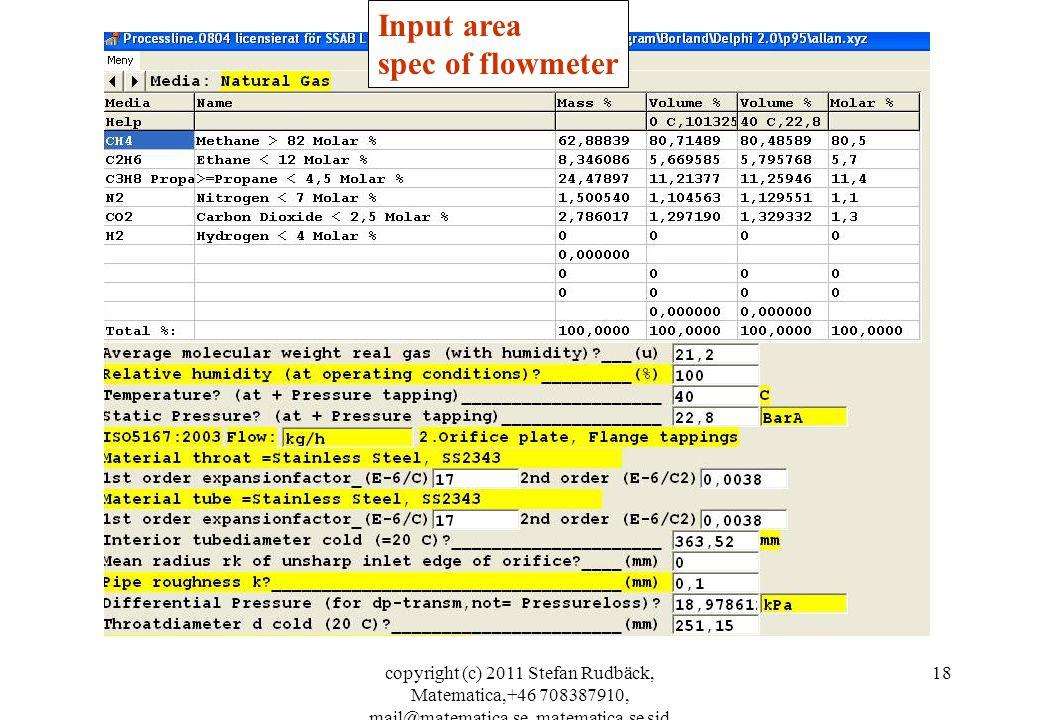 copyright (c) 2011 Stefan Rudbäck, Matematica,+46 708387910, mail@matematica.se, matematica.se sid 18 Input area spec of flowmeter