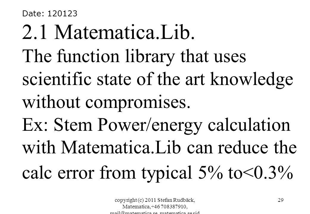 copyright (c) 2011 Stefan Rudbäck, Matematica,+46 708387910, mail@matematica.se, matematica.se sid 29 Date: 120123 2.1 Matematica.Lib. The function li