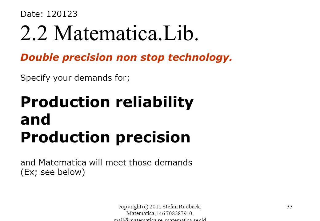 copyright (c) 2011 Stefan Rudbäck, Matematica,+46 708387910, mail@matematica.se, matematica.se sid 33 Date: 120123 2.2 Matematica.Lib. Double precisio