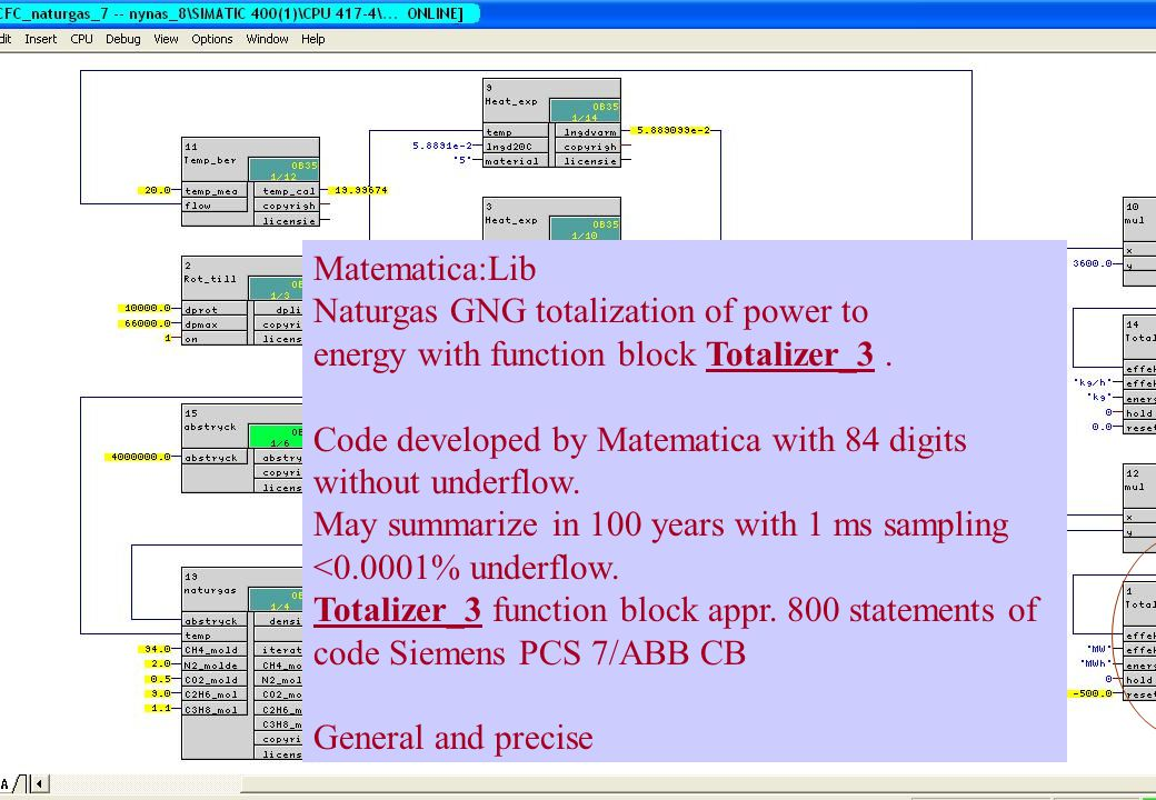 copyright (c) 2011 Stefan Rudbäck, Matematica,+46 708387910, mail@matematica.se, matematica.se sid 53 Matematica:Lib Naturgas GNG totalization of power to energy with function block Totalizer_3.