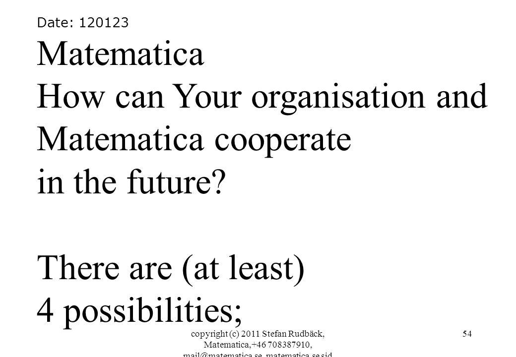 copyright (c) 2011 Stefan Rudbäck, Matematica,+46 708387910, mail@matematica.se, matematica.se sid 54 Date: 120123 Matematica How can Your organisatio
