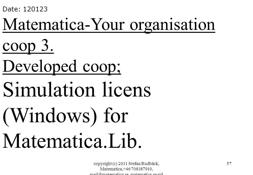 copyright (c) 2011 Stefan Rudbäck, Matematica,+46 708387910, mail@matematica.se, matematica.se sid 57 Date: 120123 Matematica-Your organisation coop 3