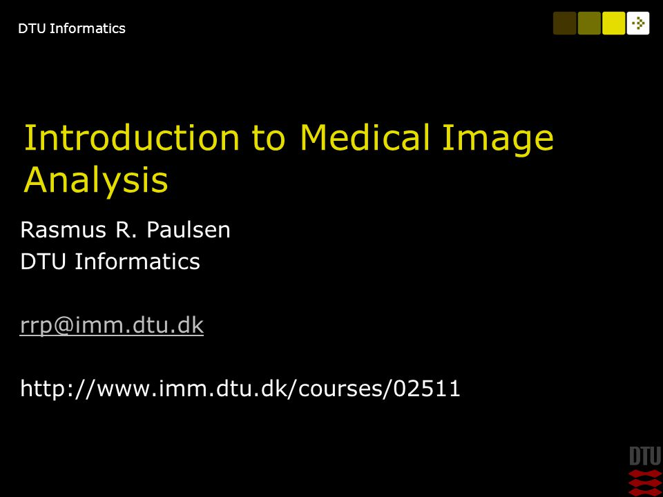 DTU Informatics 29/4/2009Introduction to Medical Imaging 32 DTU Informatics, Technical University of Denmark Path tracing A path is defined as a curve in an image defined as something that is different from the background' In this case it is a dark line Pre-processing can for example turn edges into dark lines.
