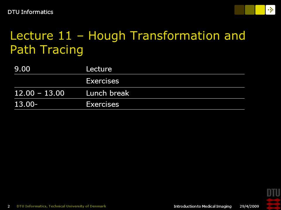 DTU Informatics 29/4/2009Introduction to Medical Imaging 23 DTU Informatics, Technical University of Denmark Real Hough Transform II