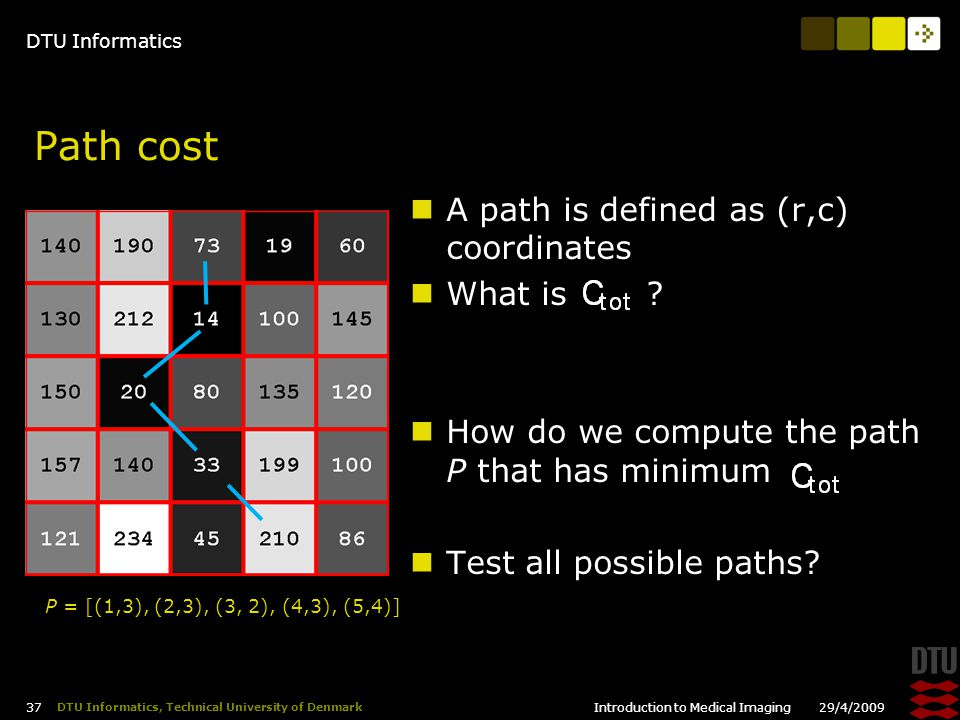 DTU Informatics 29/4/2009Introduction to Medical Imaging 37 DTU Informatics, Technical University of Denmark Path cost A path is defined as (r,c) coordinates What is .
