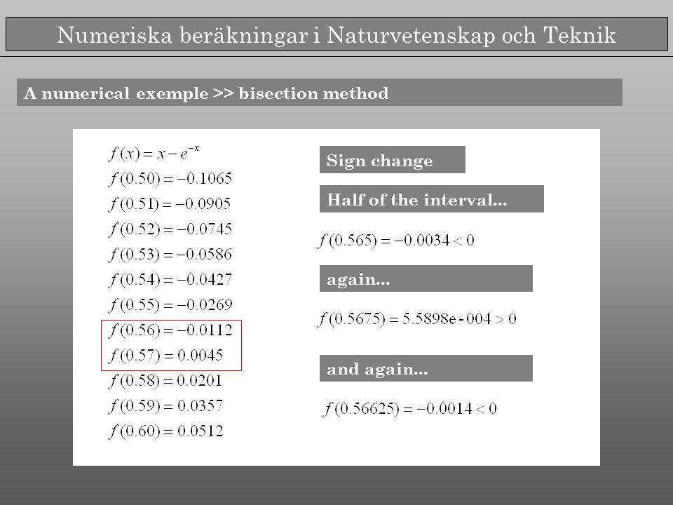 Numeriska beräkningar i Naturvetenskap och Teknik A numerical exemple >> bisection method Sign change Half of the interval... again... and again...