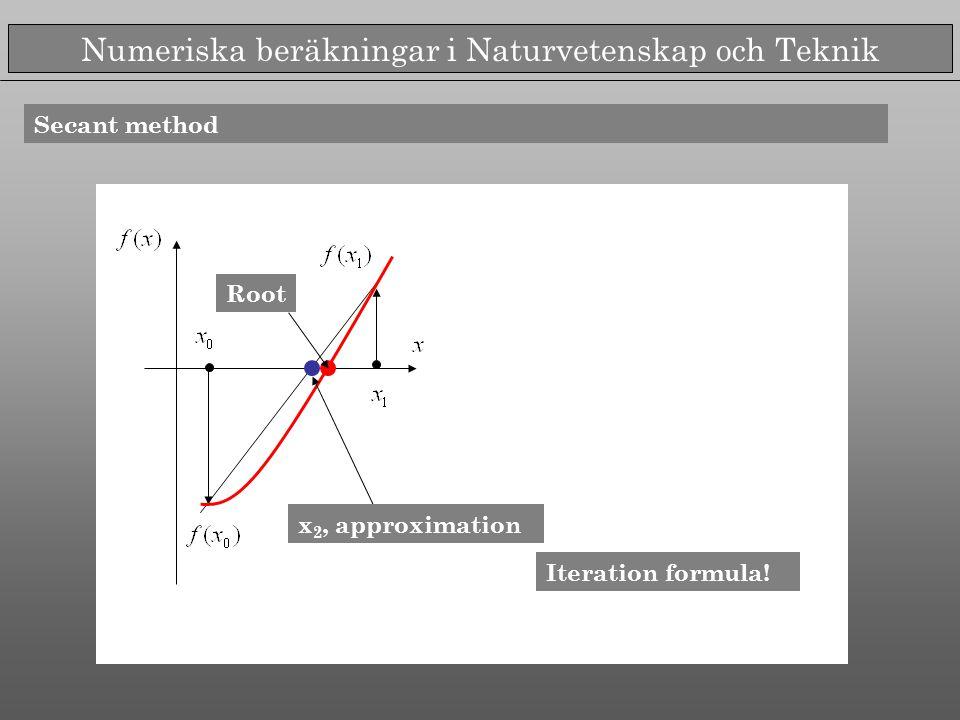 Numeriska beräkningar i Naturvetenskap och Teknik Secant method Sekantens ekvation Iteration formula! Root x 2, approximation