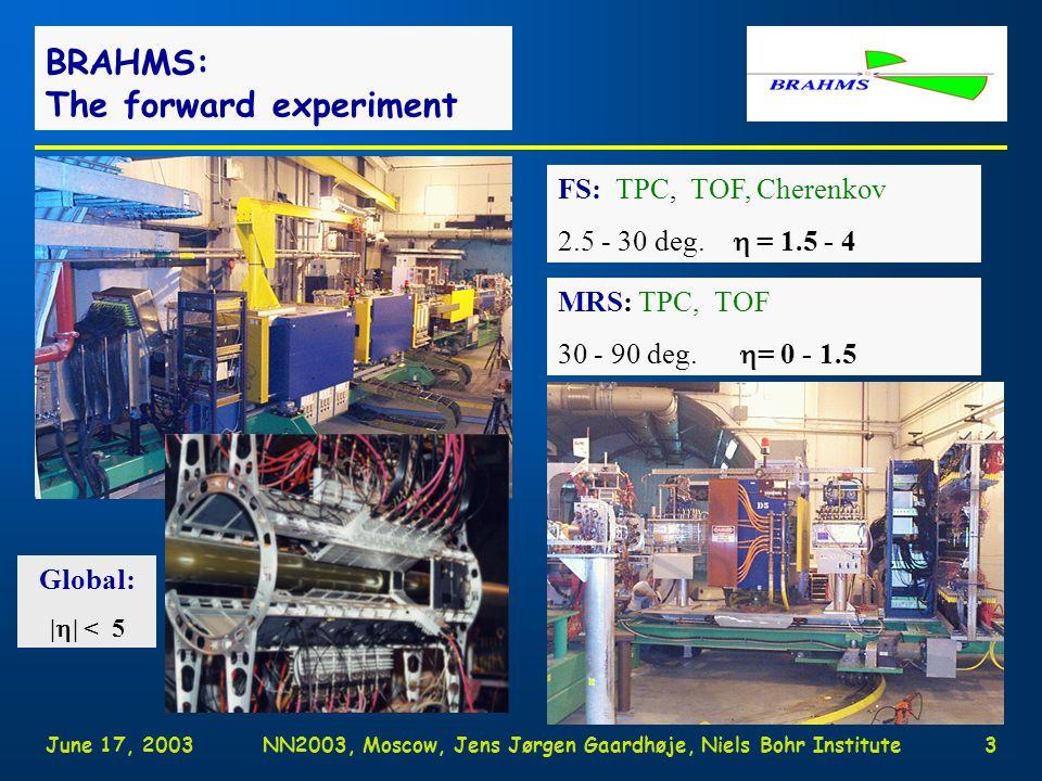 June 17, 2003NN2003, Moscow, Jens Jørgen Gaardhøje, Niels Bohr Institute3 BRAHMS: The forward experiment FS: TPC, TOF, Cherenkov 2.5 - 30 deg.