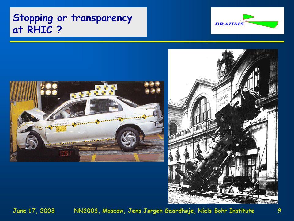 June 17, 2003NN2003, Moscow, Jens Jørgen Gaardhøje, Niels Bohr Institute9 Stopping or transparency at RHIC ?