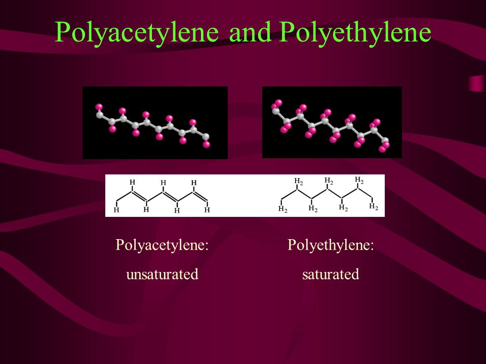 Polyacetylene and Polyethylene Polyacetylene: unsaturated Polyethylene: saturated